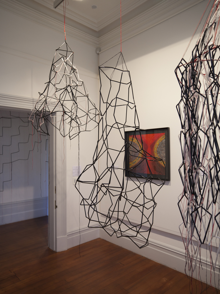 The Little Gallery installation,Pentagonal Prism, Polyhedronous mass, Inner, Multiprism,  (l to r)